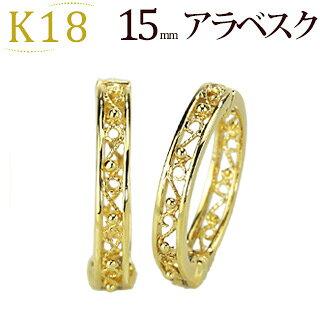 K18フープフープイヤリング(ピアリング)